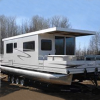 10' x 35' Day Boat Pontoon Houseboat w/ Trailer + Motor