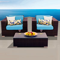 Elite Ocean View Tropical Blue 3 Piece Outdoor Wicker Patio Furniture Set