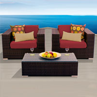 Elite Ocean View Henna Spice 3 Piece Outdoor Wicker Patio Furniture Set