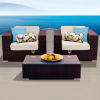 Elite Ocean View Ivory 3 Piece Outdoor Wicker Patio Furniture Set