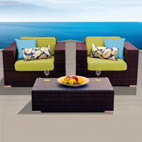 Elite Ocean View Red Spice 3 Piece Outdoor Wicker Patio Furniture Set