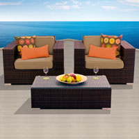 Elite Ocean View Taupe 3 Piece Outdoor Wicker Patio Furniture Set