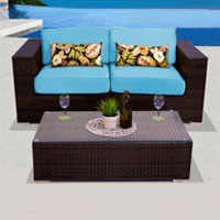 Elegant Ocean View Tropical Blue 3 Piece Outdoor Wicker Patio Furniture Set