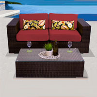 Elegant Ocean View Henna Spice 3 Piece Outdoor Wicker Patio Furniture Set