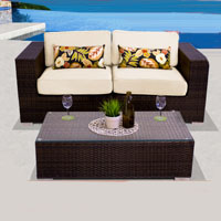 Elegant Ocean View Ivory 3 Piece Outdoor Wicker Patio Furniture Set