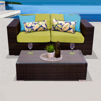 Elegant Ocean View Peridot 3 Piece Outdoor Wicker Patio Furniture Set