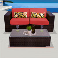 Elegant Ocean View Red Spice 3 Piece Outdoor Wicker Patio Furniture Set