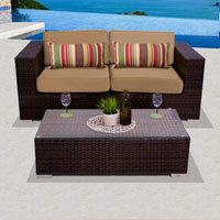 Elegant Ocean View Taupe 3 Piece Outdoor Wicker Patio Furniture Set