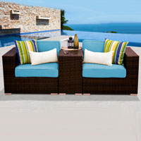 Modern Ocean View Tropical Blue 3 Piece Outdoor Wicker Patio Furniture Set