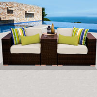 Modern Ocean View Ivory 3 Piece Outdoor Wicker Patio Furniture Set