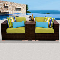 Modern Ocean View Peridot 3 Piece Outdoor Wicker Patio Furniture Set