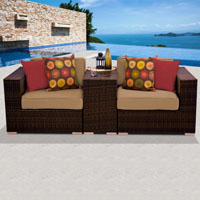 Modern Ocean View Taupe 3 Piece Outdoor Wicker Patio Furniture Set
