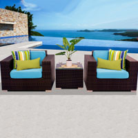 Deluxe Ocean View Tropical Blue 3 Piece Outdoor Wicker Patio Furniture Set