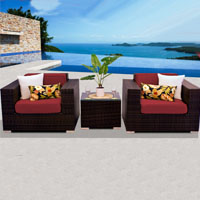 Deluxe Ocean View Henna Spice 3 Piece Outdoor Wicker Patio Furniture Set