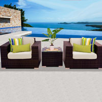 Deluxe Ocean View Ivory 3 Piece Outdoor Wicker Patio Furniture Set