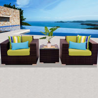 Deluxe Ocean View Peridot 3 Piece Outdoor Wicker Patio Furniture Set