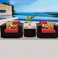 Deluxe Ocean View Red Spice 3 Piece Outdoor Wicker Patio Furniture Set