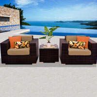 Deluxe Ocean View Taupe 3 Piece Outdoor Wicker Patio Furniture Set
