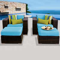 Deluxe Ocean View Tropical Blue 4 Piece Outdoor Wicker Patio Furniture Set