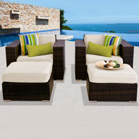 Deluxe Ocean View Ivory 4 Piece Outdoor Wicker Patio Furniture Set