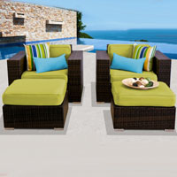 Deluxe Ocean View Peridot 4 Piece Outdoor Wicker Patio Furniture Set