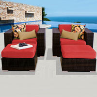Deluxe Ocean View Red Spice 4 Piece Outdoor Wicker Patio Furniture Set