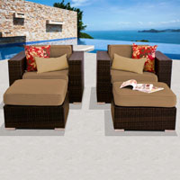 Deluxe Ocean View Taupe 4 Piece Outdoor Wicker Patio Furniture Set