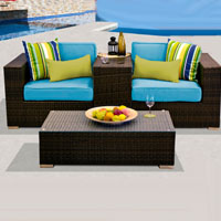 Modern Ocean View Tropical Blue 4 Piece Outdoor Wicker Patio Furniture Set