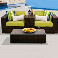 Modern Ocean View Peridot 4 Piece Outdoor Wicker Patio Furniture Set