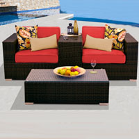 Modern Ocean View Red Spice 4 Piece Outdoor Wicker Patio Furniture Set