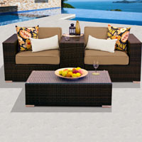 Modern Ocean View Taupe 4 Piece Outdoor Wicker Patio Furniture Set