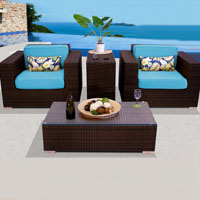 Elite Ocean View Tropical Blue 4 Piece Outdoor Wicker Patio Furniture Set