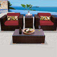 Elite Ocean View Henna Spice 4 Piece Outdoor Wicker Patio Furniture Set