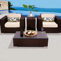 Elite Ocean View Ivory 4 Piece Outdoor Wicker Patio Furniture Set