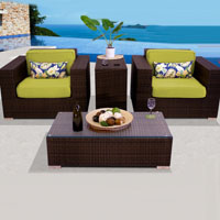 Elite Ocean View Peridot 4 Piece Outdoor Wicker Patio Furniture Set