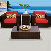 Elite Ocean View Red Spice 4 Piece Outdoor Wicker Patio Furniture Set