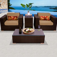 Elite Ocean View Taupe 4 Piece Outdoor Wicker Patio Furniture Set