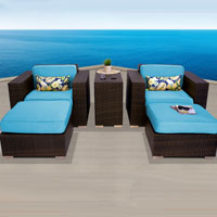 Elite Ocean View Tropical Blue 5 Piece Outdoor Wicker Patio Furniture Set