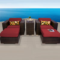 Elite Ocean View Henna Spice 5 Piece Outdoor Wicker Patio Furniture Set