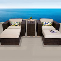 Elite Ocean View Ivory 5 Piece Outdoor Wicker Patio Furniture Set