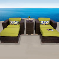 Elite Ocean View Peridot 5 Piece Outdoor Wicker Patio Furniture Set