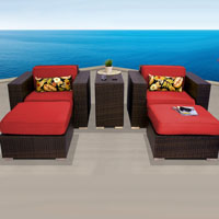 Elite Ocean View Red Spice 5 Piece Outdoor Wicker Patio Furniture Set