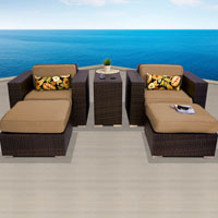 Elite Ocean View Taupe 5 Piece Outdoor Wicker Patio Furniture Set