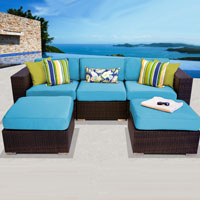 Modern Ocean View Tropical Blue 5 Piece Outdoor Wicker Patio Furniture Set