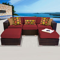 Modern Ocean View Henna Spice 5 Piece Outdoor Wicker Patio Furniture Set