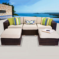 Modern Ocean View Ivory 5 Piece Outdoor Wicker Patio Furniture Set