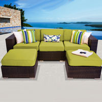 Modern Ocean View Peridot 5 Piece Outdoor Wicker Patio Furniture Set