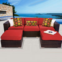 Modern Ocean View Red Spice 5 Piece Outdoor Wicker Patio Furniture Set