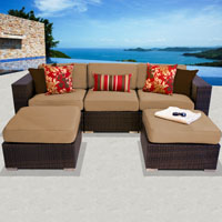 Modern Ocean View Taupe 5 Piece Outdoor Wicker Patio Furniture Set