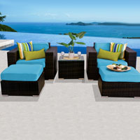Deluxe Ocean View Tropical Blue 5 Piece Outdoor Wicker Patio Furniture Set